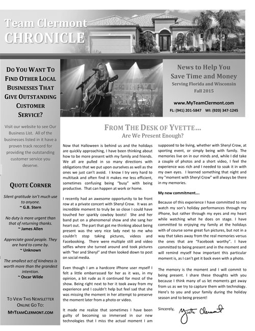 The Yvette Clermont Team 2015 Fall Newsletter